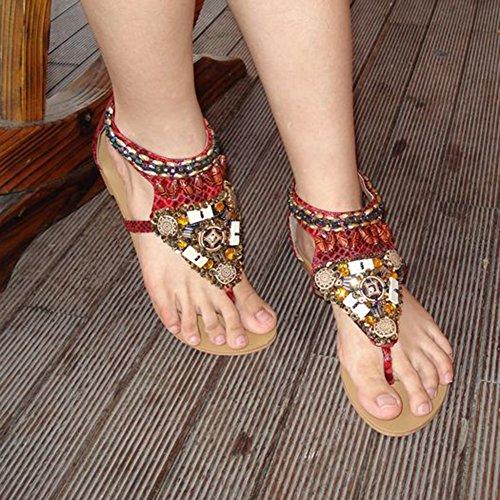 Femmes Plage Chaussures Bohemian Strass Sandales Plat Herringbone Avec Fermeture À Glissière Rouge