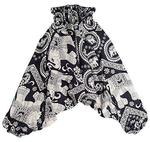 Lofbaz Kinder Harem Aladdin Elefanten Spezielle Kinder Hosen Bohemian Hippie Schwarz Größe 3-4Y Kind Harem