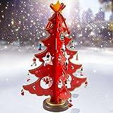 Weihnachtsbaum Holz Deko Tannenbaum Klein Weihnachten Dekoration Tischdeko Weihnachtsdeko Geschenke DIY Basteln 36cm (Rot)