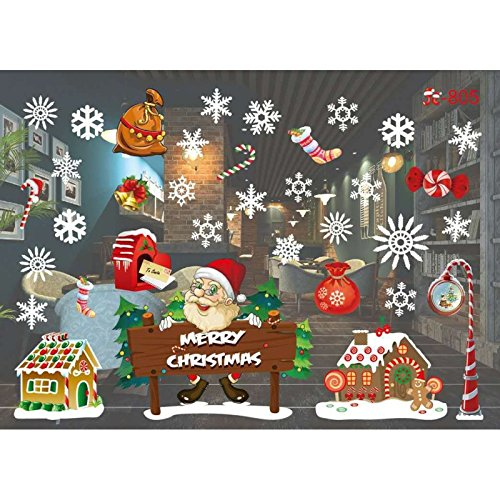 Aufkleber Wingbind Bunte Abnehmbare Fenster Weihnachten Aufkleber Wasserdicht Santa Schneeflocke Schneemänner Wandaufkleber Kinder Wohnkultur Ornamente ()