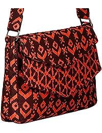 By My Side Women's Sling Bag Black Orange (BMS043)