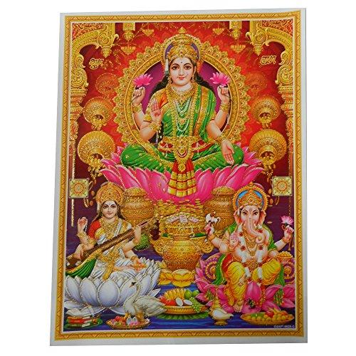 Bild Lakshmi Ganesha Sarasvati Lotus 30 x 40 cm Diwali Gottheit Hinduismus Kunstdruck Plakat Poster Glitzerfarbe Religion Spiritualität Dekoration
