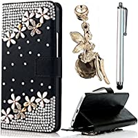 Samsung Galaxy G530 Custodia Cover - Vandot 3 in1 Set Esclusivo Lusso 3D Pearl Fiore DIY Ultra Sottile Thin Flip Folio Black Nero Pelle Leather Case di Silicone Housing Skin Protector Custodia Cover Magnete Snap-on Stile - Pearl Fiore + Cristallo Strass Oro Angelo Anti-Dust Spina con Metallo Argento Stylus Stilo