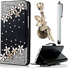 Samsung Galaxy Note 4 Custodia Cover - Vandot 3 in1 Set Esclusivo Lusso 3D Pearl Fiore DIY Ultra Sottile Thin Flip Folio Black Nero Pelle Leather Case di Silicone Housing per Smartphone Samsung Galaxy Note 4 Protector Custodia Cover Magnete Snap-on Stile - Pearl Fiore + Cristallo Strass Oro Angelo Anti-Dust Spina con Metallo Argento Stylus Stilo