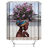 AOLVO Fancy 3D Duschvorhang abstrakter Druck Wasserdicht Schimmelresistent Stoff Polyester Bad curtain-extra Lange Weiß Beach Duschvorhang mit 12Haken, 180x 180cm (African American Dusche Vorhänge)