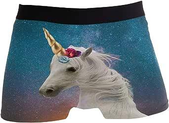 ZZKKO Unicorno Galaxy Star Boxer Boxer Boxer Boxer da uomo traspirante elasticizzato con custodia S-XL