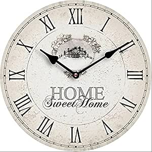 HORLOGE MURALE DESIGN HOME SWEET HOME SHABBY 30CM NOSTALGIE - Tinas Collection