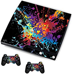 Paint Splats Sticker/Skin PS3 Playstation Slimline Console & Remote controller stickers, psk19
