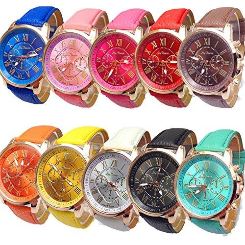 LinTimes 10 Stück Damenuhr / Quarz Multi Color Watch