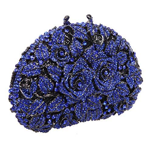 Bonjanvye Glitter Studded Rhinestone Rose Clutch Purse for Wedding Party Gold blue