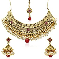 Jewels Galaxy Red Pearl Beads Necklace Set For Women