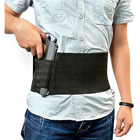 Hensych negro táctico cintura elástica Concealed Carry cinturón vientre banda en forma de pistola (2estuches de Magzine elástica con 2revista bolsas para Glock 23Sig 22637