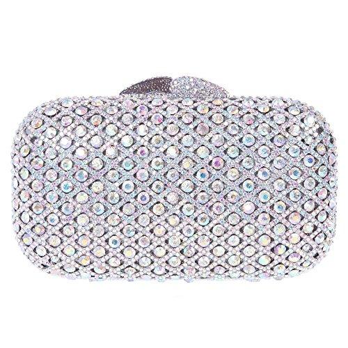 Damen Clutch Abendtasche Handtasche Geldbörse Luxus Glitzer Gitter Tasche mit wechselbare Trageketten von Santimon Mehrfarbig Santimon d36If