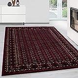 Orientteppich Wohnzimmer Klassische Optik Afghanischer Muster Rot Schwarz Beige, Maße:200 cm x 290 cm