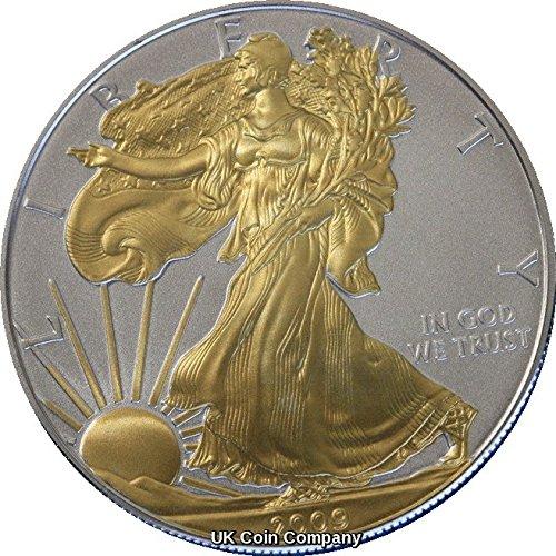 2009 American 1oz Fine Silver Gold Liberty Eagle Coin - Münze Gold American Eagle