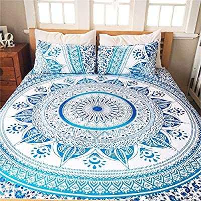 HANDICRAFTOFPINKCITY Decorative mandala Duvet Cover Throw Double Size Handmade Quilt Cover Reversible Indian Bedding Doona Blanket Cover With 2pc Pillow