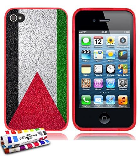 Ultraflache weiche Schutzhülle APPLE IPHONE 4 / IPHONE 4S [Palästina Flagge] [Durchsichtig] von MUZZANO + 3 Display-Schutzfolien UltraClear + STIFT und MICROFASERTUCH MUZZANO® GRATIS - Das ULTIMATIVE, Rot