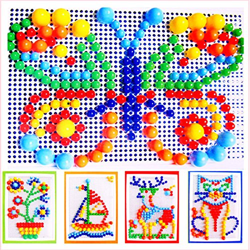 ChenXi Shop 296PCS Portable Mosaic Nail Puzzle Peg Board For Kids Children Educational Toys Gift