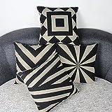 Luxbon 4er Set Geometrische Muster Schwarz und Beige Leinen Kissenbezug Kissen Fall Sofa Taille Throw Cover Pillowcase Hülle Couch Stuhl Auto Haus Deko 45 x 45 cm