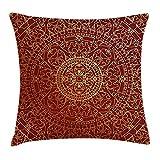 Borsa Pads Maroon Federa per Cuscino da, Antico Arabo Artwork Orientale Mandala Inspired Round Ornamento Etnico Marocchino, Decorative Square Accent Pillow Case, 45,7x 45,7cm, Oro Marrone 45cm