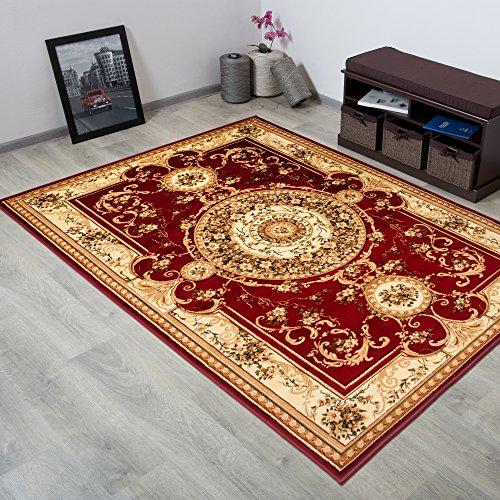 Tapiso YESEMEK Klassisch Teppich Kurzflor Orientalisch Teppiche Floral Medaillon Muster und Bordüre in Rot Creme Barock Design Wohnzimmer ÖKOTEX 160 x 220 cm -