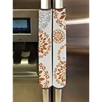 Heart Home PVC Fridge/Refrigerator Handle Cover,Set of 2,Rangoli,White (Model: HS_37_HEARTH020147)
