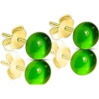 Orecchini Verde smeraldo in vetro di Murano, Creazioni Pireta, placcato in oro 18k, anallergico, fatto a mano, hand made…
