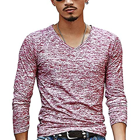 Herren Langarmshirt Slim Fit V-Ausschnitt Gesprenkelt Lange Ärmel T-Shirt Oberteile