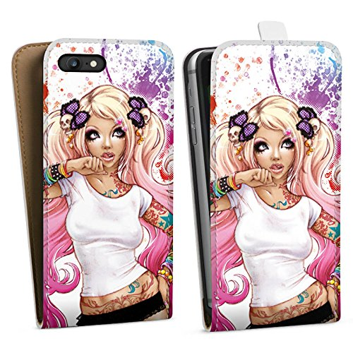 Apple iPhone X Silikon Hülle Case Schutzhülle Mädchen Tattoos Comic Downflip Tasche weiß