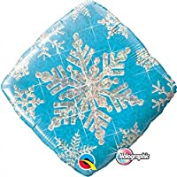 Christmas/Winter Snowflakes Sparkles Blue Holographic Qualatex 18 Foil Balloon by Qualatex