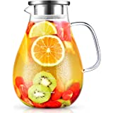 STNTUS INNOVATIONS Carafe Eau, Carafe Verre 2,4 litres avec Couvercle, Pichet en Verre Borosilicaté avec Brosse, Pichet à Eau