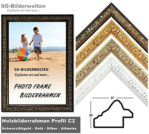 Barock Holz Bilderrahmen Schwarz Altgold Antik Look 70 x 100 cm inklusive bruchsicherem Antireflex-Acrylglas (Kunstglas entspiegelt) Profil C2-AR