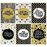 Papierdrachen Weihnachtskarten Set - 12 Postkarten für Weihnachten - Kunstdruck zum Verschicken und Sammeln - Karten Set 4 - Schwarz-Gold