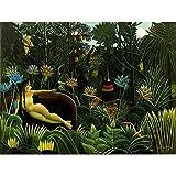 Wee Blue Coo LTD Painting Jungle Henri Rousseau Il Sogno Art Print Poster Wall Decor Kunstdruck Poster Wand-Dekor-12X16 Zoll