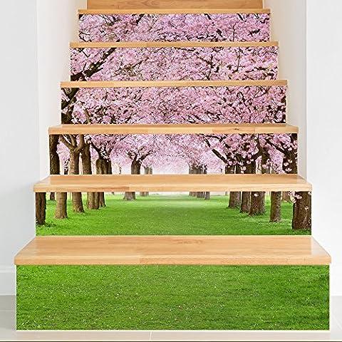 escalier 3D des arbres de cerisier autocollant autocollants autocollants bricolage apposé escalier rénové étanche (18x100cm * x6)