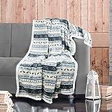 Delindo Lifestyle® Wohndecke NORDIC GRAU / Microfaser Coral-Fleece-Decke in 150x200 cm / flauschig weiche Kuscheldecke mit Lammfelloptik für Erwachsene und Kinder