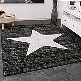 VIMODA Trendiger Kurzflor Teppich Design Stern Meliert in Schwarz - Öko Tex Zertifiziert, Maße:200x280 cm
