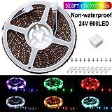 SPARKE --- Luz de tira del LED 10M 32.8 Ft / 3528 RGB 600LEDs, color flexible que cambia el cinturón ligero del LED - para HDTV / HomeTheater, kits de iluminación, decoración del festival (24VRGB / not-waterproof)
