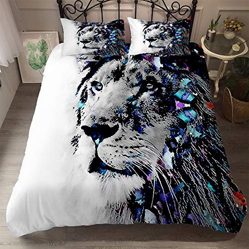 DXSX Bettwäsche Set Bettbezug Aquarell 3D Tier Löwe Wolf Bunt Drucken Bettwäsche Bettbezug und Kissenbezug Einzelgröße Doppelte King Size (Löwe 02, 135 x 200 cm)