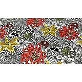 50 cm Stoff dralon velour gedruckt blumen, grau, orange und