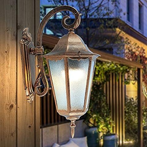 Lampe murale à l'extérieur étanche à l'épanouir style européen Hôtel Villa Door Garden Peel à l'orange Verre noir / bronze Aluminium E27 LED Hauteur: 48CM ( Couleur : Bronze )