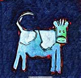 Ölgemälde Auf Leinwand Handgemalt Tier Abstrakte Malerei, Der Blaue Kuh, Vintage Orientalische Moderne Ursprüngliche Kunst Für Erwachsene Wohnzimmer Schlafzimmer Haus Wand Dekoration, 35 * 35 Cm