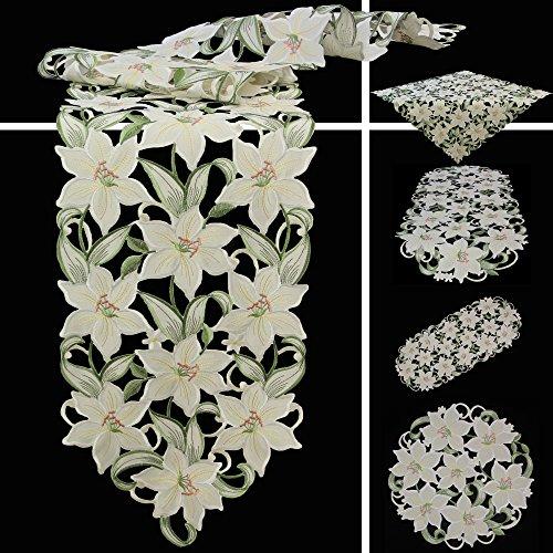 Quinnyshop Weiße Lilie Stickerei Tischdecke Deckchen ca. 30 cm Rund Polyester, Weiß Grün
