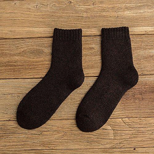 3 Double Pack winter dicke Wollsocken, Kaschmir, das warme dicke Socken Handtuch Terry socks Männer und Kaschmir, Barrel, den gesamten Code, Dunkelbraun 3er-Pack