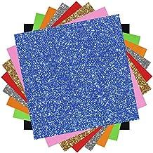 Outus Hojas de Vinilo de Transferencia Térmica Brillante y Vinilo Transfer de Calor de PU, 10 por 10 pulgadas, 8 Colores, 8 Piezas