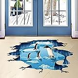 W&ZCH Kreative 3D Wandaufkleber Eis Pinguin Badezimmer Boden Aufkleber Meer Vinilos Paredes Kinder Zimmer Dekoration
