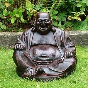 Garten Skulptur Buddha Lachend Rot Garten