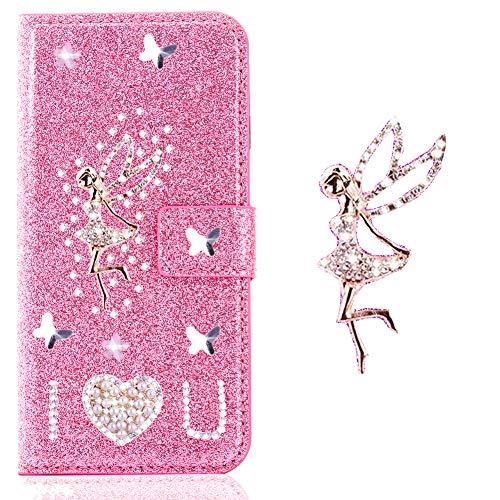 Preisvergleich Produktbild Bling Bookstyle für Samsung J5 2017, Glitter Glitzer Diamond Musterg Slim Retro Klassisch Modisch Leder Stand Funktion Kartenfach Flip Wallet Hülle