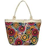 CASPAR TS1032 große XL Damen Strandtasche/Shopper mit buntem Ethno Blumen Muster, Farbe:multicolor dunkelblau;Größe:One Size