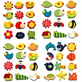 Kuhu Creations® Supreme Fridge Magnet Wooden Stickers In Vivid Color Cute And Beautiful. (Vivid Color Thin Shapes 48 Pcs)